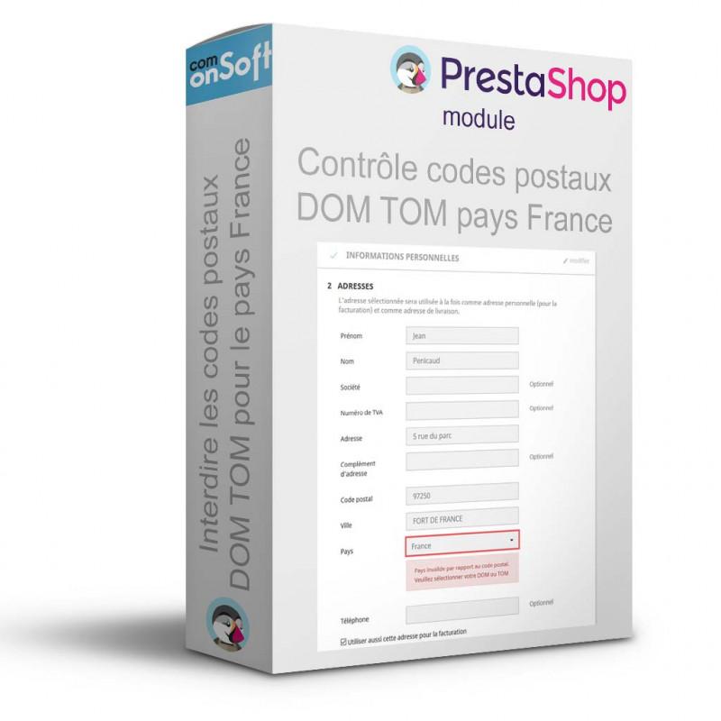 Module Prestashop vérification des codes postaux DOM TOM et pays France