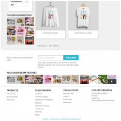 Prestashop demo with the Instagram Picture Block module on the left column and footer