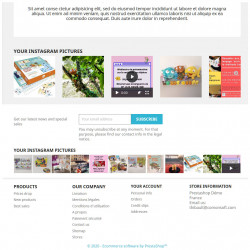 Prestashop demo with the Instagram Picture Block module on the homepage and footer
