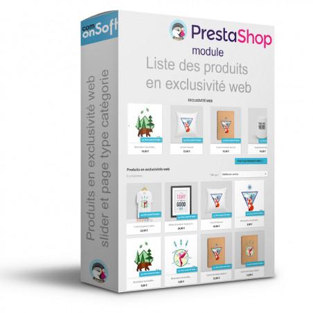 Module Prestashop pour afficher la liste des produits en exclusivité web.