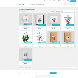 Module Prestashop pour afficher la liste des produits en exclusivité web, dans une page comme une catégorie.