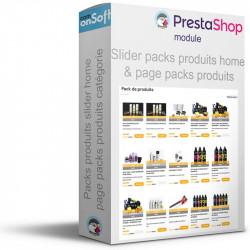 Module Prestashop pour afficher la liste des packs produits sur la page d'accueil et en liste de produits.