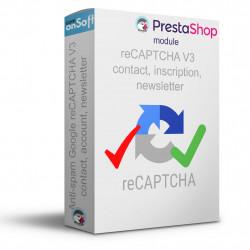 Module Prestashop Google reCAPTCHA V3, protégez vos formulaires de contact, inscription newsletter et création de compte.