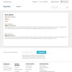 Page des avis clients et note moyenne de la e-boutique Prestashop