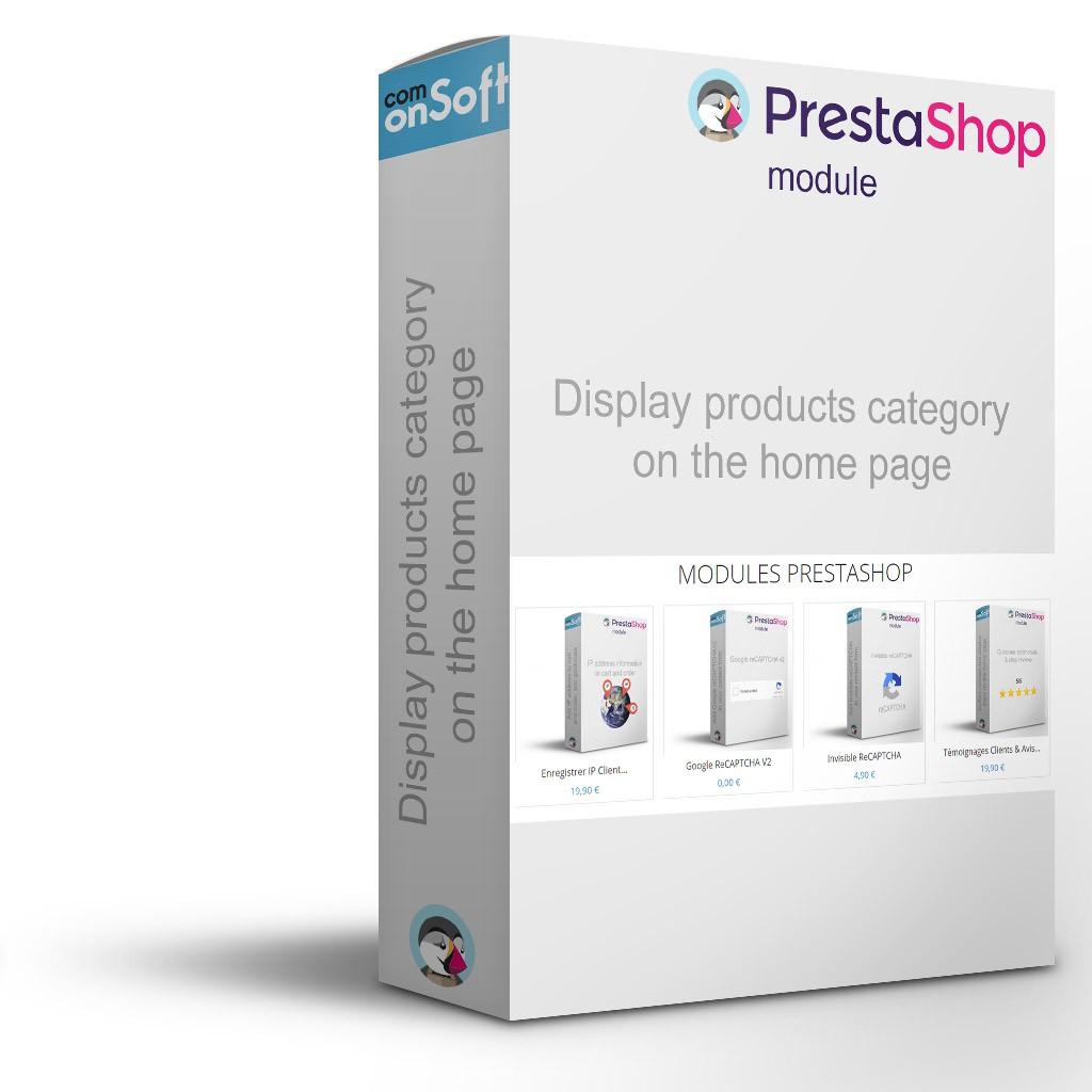 Module Prestashop Afficher les produits d'une catégorie sur la page d'accueil